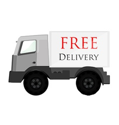 Delivery car grey with text free delivery vector