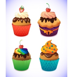 Cupcake pack chocolate and vanilla icing cupcakes vector