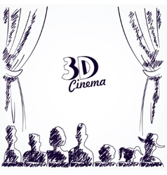 Cinema audience back view vector