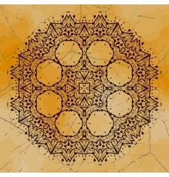 Grungy indian mandala henna colored tribal design vector
