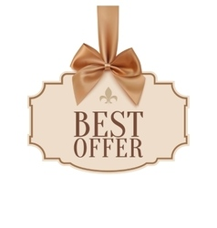 Best offer banner with golden ribbon vector image