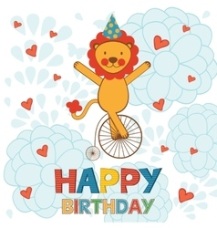Happy birthday card with happy lion performing on vector image