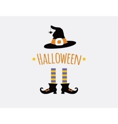 Happy halloween card design with witchlegs and hat vector