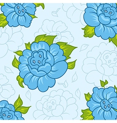 Beautiful pattern with blue flowers - vector