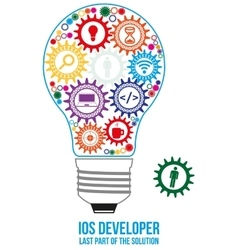 Ios developer search gears design concept vector