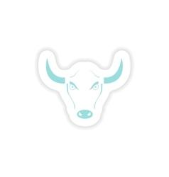 Paper sticker on white background bull logo vector