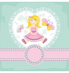 Abstract baby card with girl vector