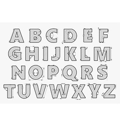 Alphabet in style of a technical drawing vector image vector image