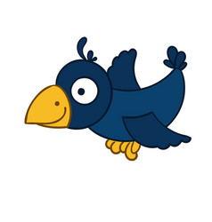 awesome cartoon flying crow vector image