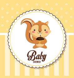 Baby shower card invitation cute chipmunk vector