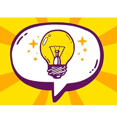 Bubble with icon of bulb light on yellow vector