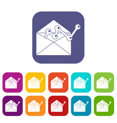 envellope with graph icons set vector image vector image