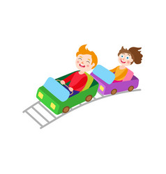 Flat children riding on roller coaster vector