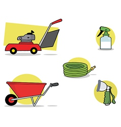 Gardening tools cartoon vector image vector image