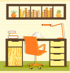 Home library with table vector