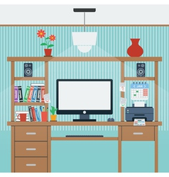 Home workplace flat vector