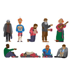 Homeless people characters cadger set unemployment vector