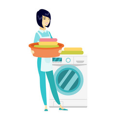 Housewife using washing machine at laundry vector