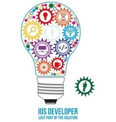 Ios developer search gears design concept vector