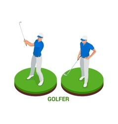 Isometric golfer sport design elements vector