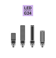 Led light g24 bulbs silhouette icon set vector