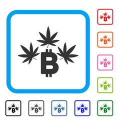 marijuana bitcoin business framed icon vector image vector image