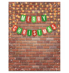 merry christmas garland on red brick wall vector image vector image