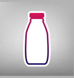 Milk bottle sign purple gradient icon on vector
