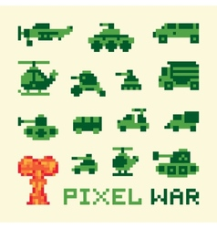 Pixel art war machines set vector