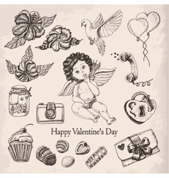 Postcard happy valentines day with the boy angel vector