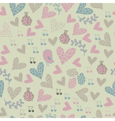 Romantic seamless pattern with birds flowers vector image