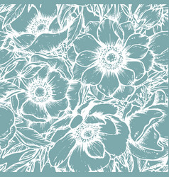 Seamless pattern with hand drawn anemone vector
