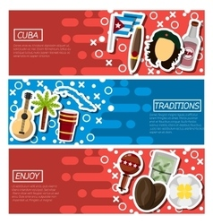 Set of Horizontal Banners about Cuba vector image vector image