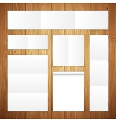 Set of white banners on wooden surface vector