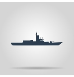 Silhouette of a large warship concept vector