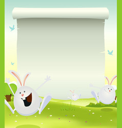 spring easter bunnies background vector image