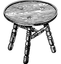 Stool made from natural wood vector