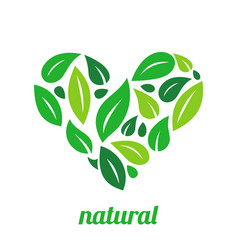Tree logo heart shape design template vector