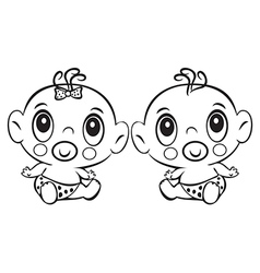 Two funny baby sitting cute baby boy and girl vector