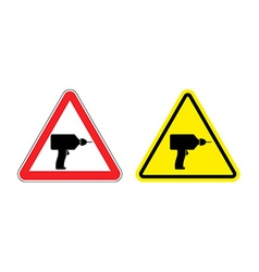 Warning sign attention drill Hazard yellow sign vector image vector image