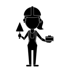 Woman construction with brick and spatula vector