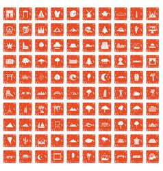 100 view icons set grunge orange vector