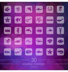 Set of marine animals icons vector