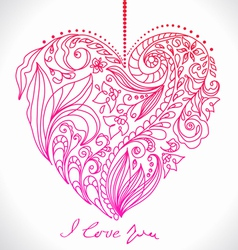 Valentines card with floral pattern vector image
