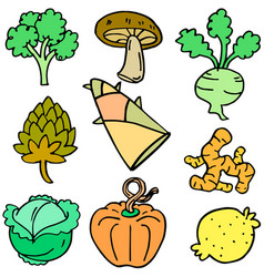 Doodle of fresh vegetables various set vector