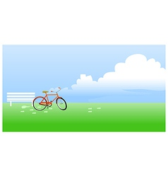 Bicycle propped near the bench vector image