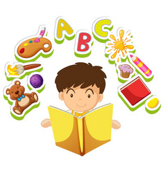 Boy reading book with toys in background vector