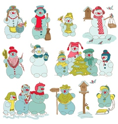 Snowman christmas set vector