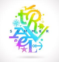 Summer travel multicolored type design vector image