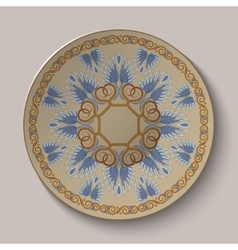 Dish with an ornament in the ancient greek style vector